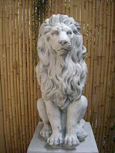 2 Löwen Steinfiguren 53 cm Steinguss Gartenfiguren Löwenpaar Top Gartendeko
