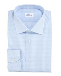 Grid-Check Dress Shirt, Blue, Size: 16 1/2L - Brioni