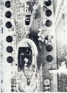U-117 (Type XB mine layer) from above, showing the deck openings for mine release.