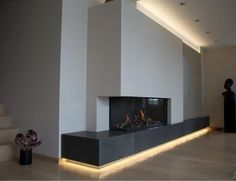 Gashaard COSYFLAME (Invento design) realisatie Ama openhaarden kapellen Belgium Inset Fireplace, Home Fireplace, Modern Fireplace, Living Room With Fireplace, Home Living Room, Living Room Designs, Living Room Decor, Lounge Design, Room Interior