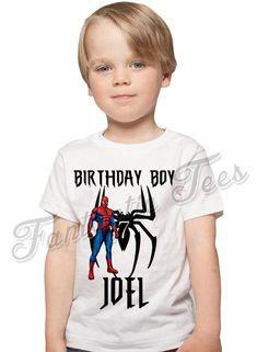 7082244f Spider-man Birthday Shirt Add Name & Age Spiderman Custom Birthday Party  TShirt 03