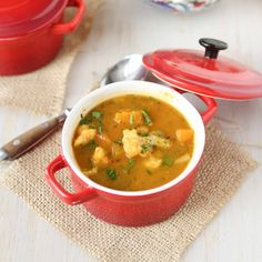 Winter Vegetable Soup Recipe with Butternut Squash & Cauliflower- add extra salt and  some honey and blend most of it = even better