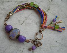 Colorful Amethyst Beadwork Bracelet, Macrame Bracelet, Hand-Knotted with Antique Bronze OOAK Macrame Jewelry, Macrame Bracelets, Wire Jewelry, Boho Jewelry, Jewelry Crafts, Jewelery, Jewelry Bracelets, Jewelry Design, Bohemian Bracelets