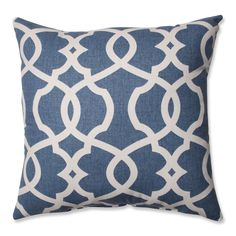 Bring calming comfort to any room with this blue throw pillow. Featuring a geometric print with beige accents, this comfy pillow is the perfect accessory for any home's decor. Detailed knife-edging creates a finished look for the pillow's cotton cover,
