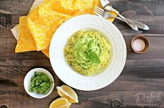 Zucchini noodles with creamy avocado sauce. I don't do paleo but this was delish! Added my own baked chicken too.