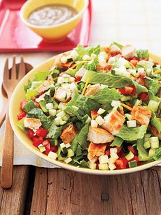 Barbecue Chicken Chop Salad  Swap that burger with this healthier option. Each serving provides more than 2.5 cups of vegetable servings -
