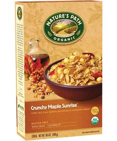 Nature's Path Crunchy Maple Sunrise® A delicious warm real maple taste breakfast cereal with a variety of crunchy textures from flakes, puffs and crispies make this a genuinely tasty gluten free breakfast. USDA Organic and Non-GMO Project certified.