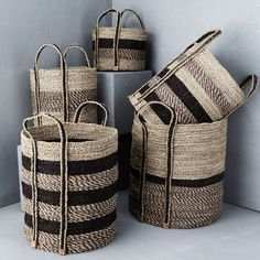 Textured Striped Basket with Outside Handles Our baskets are made from natural fibres using traditional weaving techniques providing beautiful functional pieces with a textural feel. Plant Basket, Bamboo Basket, Rope Basket, Basket Weaving, Home Decor Baskets, Basket Decoration, Rustic Baskets, Wicker Baskets, Sisal