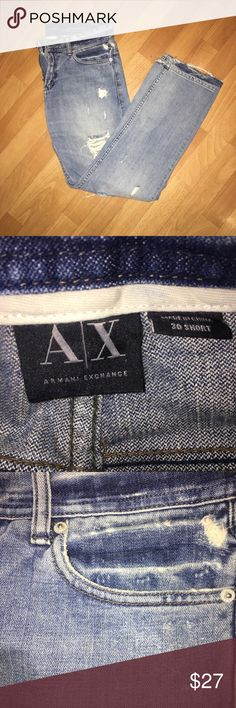 Armani exchange short jeans 30 short distressed Armani Exchange Jeans Relaxed