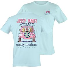 Simply Southern Preppy Jeep Hair Don't Care T-Shirt Available in sizes- Adult S,M,L, XL,2X