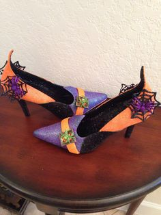 Any fashionista witch would love these with all the glitz and sparkle!!! Painted by Gail Beckwith
