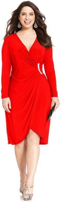 R&M Richards Plus Size Embellished Faux-Wrap Dress
