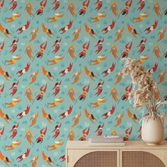 Swim Pattern Removable Wallpaper, Cool Blue Grey Wall Cling, Nautical Peel and Stick, Modern Home Decor, Pretty Decorative Wall Mural Decal - Smooth Wall Decal / 1 roll: 24W x 84H