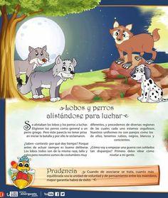 Lobos y perros alistándose para luchar PRUDENCIA