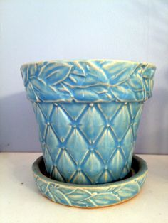 McCoy flower pot, purchased at auction for my personal collection   Blue Hydrangea Beach Cottage Vacation Rentals   Belmar   New Jersey Shore   www.vacationinbelmar.com