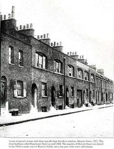 Weavers Houses on Menotti Street, Bethnal Green 1927 Victorian London, Victorian Life, Vintage London, Old London, East End London, Uk History, London History, Family History, Local History