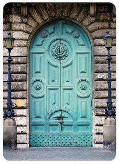 Rome where the doors and enormous Cool Doors, Unique Doors, Entrance Doors, Doorway, Grand Entrance, Turquoise Door, Aqua Door, Blue Doors, Italian Doors