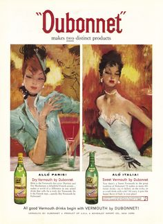 - Theres nothing in the world like Dubonnet. Dubonnet Red - a touch of Paris in every drop. Dubonnet Blonde - so smooth.so light and extra Vintage Advertisements, Vintage Ads, Vintage Prints, Vintage Posters, Vintage Wine, Retro Ads, Art Nouveau, Home Bar Decor, Paris Cafe