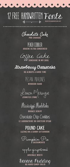 12 Free Handwritten Fonts @ Beautiful Dawn designs ~~ {w/ easy download links} ~~