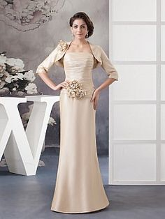 Floral Embellished Satin Mermaid Mother of the Bride Dress with Bolero - USD $140.00