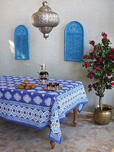 Casablanca Blues ~ Moroccan Theme Style Quatrefoil Tablecloth