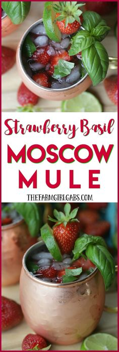 Toast the height of strawberry season with this refreshing Strawberry Basil Moscow Mule drink recipe.