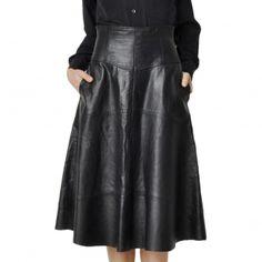 Full Black Leather Skirt