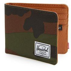 Men's Herschel Supply Co. 'Hank' Bifold Wallet ($35) ❤ liked on Polyvore featuring men's fashion, men's bags, men's wallets, woodland camo, mens bifold wallets, mens wallets, mens camo wallet and bi fold mens wallet