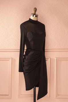Omilia Licorice - Black long sleeve wrap dress