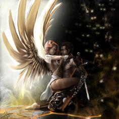 Angels and Demons, Franco Mejias - Art Dark Fantasy Art, Fantasy Artwork, Fantasy Love, Fantasy Art Angels, Ange Demon, Demon Art, Romance Arte, Art Romantique, Fantasy Couples