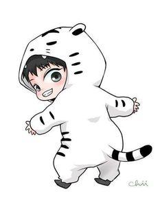 Chibi Chanyeol the Rawring Tiger Kpop Exo, Park Chanyeol Exo, Baekhyun, Chibi Exo, Anime Chibi, Kawaii Anime, Exo Cartoon, Cute Cartoon, Kpop Fanart