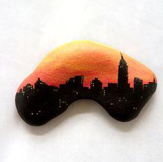 Hand-Painted New York Skyline on Stone