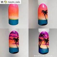 Summer Palm Tree Nails Art Tutorials 30 Ideas For 2019 - Tree - Unhas Sunset Nails, Beach Nails, Palm Tree Nail Art, Palm Nails, Vacation Nails, 3d Fantasy, Diy Nail Designs, Nail Tutorials, Diy Nails