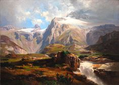 Anton Hansch (born 24 March 1813 in Vienna; died 8 December 1876 in Salzburg) was an Austrian painter. He was a pupil of Josef Mössmer Waterfall Paintings, Scenery Paintings, Mountain Paintings, Fantasy Landscape, Landscape Art, Landscape Paintings, Landscapes, Watercolor Art Landscape, Landscape Drawings