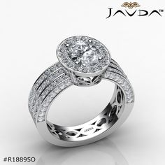 Oval Diamond Engagement Ring Certified By GIA, J Color & SI1 Clarity, 14k White Gold.
