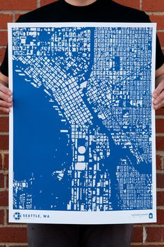 seattle washington city map pacific northwest architecture urban planning map screenprint print for framing modern home decor wall art by CityFabric | CityFabric