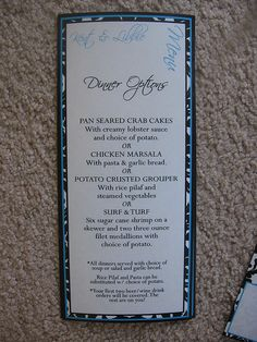 White/Black/Blue Damask Rehearsal Dinner Menu by Weddings*n*Whimsy, via Flickr
