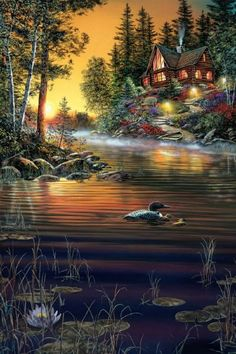 "Jim Hansel ~ ""Garden Hideaway"" ~c.c~ Beautiful Painting By An Artist Who Is Officially Blind. Thomas Kinkade, Kinkade Paintings, Tile Murals, Nature Pictures, Beautiful Landscapes, Beautiful Paintings Of Nature, Pretty Pictures, Landscape Paintings, Beautiful Places"