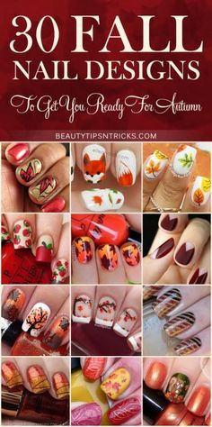 Feast your eyes on this huge collection of Fall Nail Art Ideas! 30 gorgeous nail designs inspired by Autumn and ready to inspire your creativity. When I looked for fall nails I couldn't pick just one so I pick these Fall Nail Art, Autumn Nails, Cute Nail Art, Fall Nail Designs, Nail Polish Designs, Cute Nail Designs, Manicure Gel, Diy Nails, Gel Nail