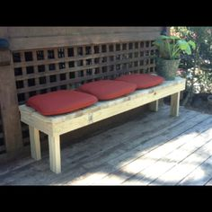 Bench seating made from 2 x 4's.  We are in the process of a patio makeover to be used be our kids.  We also needed extra seating for an upcoming outdoor party.  We included three of these easy patio benches in our makeover.