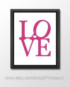 love typography, love nursery decor, love print, kids wall decor pink, heart shape, kids wall art, nursery art print, childrens room decor by PinkeeArt, $11.00
