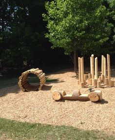 Designed and installed by Active Playground Equipment. Featuring a Log Tunnel, Log Car and Log Stilts. Outdoor Play Spaces, Kids Outdoor Play, Kids Play Area, Backyard For Kids, Outdoor Fun, Natural Outdoor Playground, Playground Design, Backyard Playground, Toddler Playground