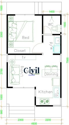 Small House Plans 4.5×7.5 With One Bedroom Gable Roof - Engineering Discoveries One Bedroom House Plans, Small House Floor Plans, Cottage House Plans, Dream House Plans, One Bedroom Apartment, Shed House Plans, Bedroom Floor Plans, Small House Decorating, Small House Design