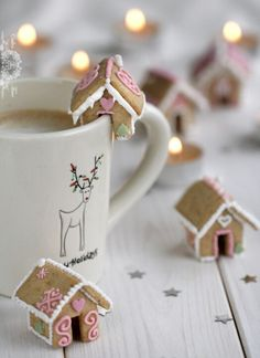 Miniature gingerbread houses. Just right for sitting on the edge of the hot chocolate mug.