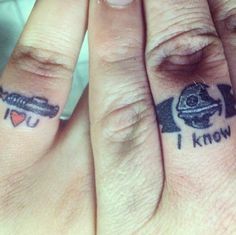 Today in Geeks In Love: Star Wars Ring Tattoos Almost tempted. Almost but not - Star Wars Rings - Ideas of Star Wars Rings - Today in Geeks In Love: Star Wars Ring Tattoos Almost tempted. Tattoos Skull, Star Tattoos, Finger Tattoos, Wedding Band Tattoo, Tattoo Band, Wedding Bands, Wedding Venues, Wedding Altars, Geek Wedding