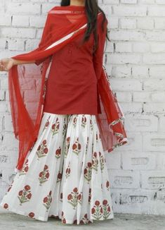 Something in cotton and for daily wear. **Marsala Block Print Sharara Set – Alaya The Storehouse** Pakistani Dresses Casual, Indian Fashion Dresses, Dress Indian Style, Pakistani Dress Design, Indian Designer Outfits, Indian Outfits, Designer Dresses, Fashion Outfits, Designer Punjabi Suits