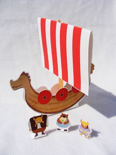 Viking Dragon Longship Printable Paper Toy by OctopodIllustration