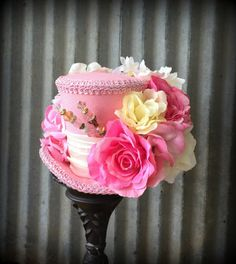 Mini Top Hat Kentucky Derby Pink Flower Mini Top Hat by ChikiBird