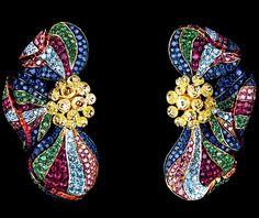 Jewellery Theatre Flowers collection Poppy Earrings, white gold, yellow briolette diamonds, purple diamonds, sky diamonds, sapphires, rubies and tsavorites.