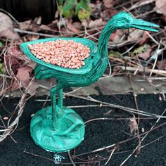 Cast Iron Bird Feeder - Stork - Verdigris - The bird feeder is handcast in keeping with tradition and craftsmanship handed down over the centuries.
